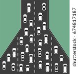 traffic jam concept top view... | Shutterstock .eps vector #674817187