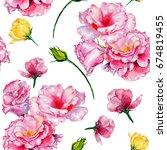 wildflower roses flower pattern ... | Shutterstock . vector #674819455