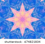 beautiful kaleidoscope blue... | Shutterstock . vector #674821834