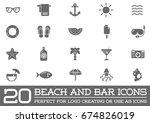 set of raster beach sea bar... | Shutterstock . vector #674826019