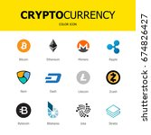 criptocurrency blockchain icons ... | Shutterstock .eps vector #674826427