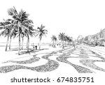 copacabana beach. rio de... | Shutterstock .eps vector #674835751