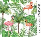 seamless pattern of flamingo ...   Shutterstock .eps vector #674836531