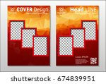 a set of brochures from red... | Shutterstock .eps vector #674839951