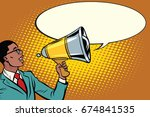 pop art black businessman with... | Shutterstock . vector #674841535