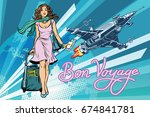 bon voyage space travel  space... | Shutterstock . vector #674841781