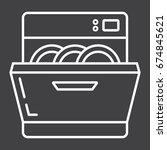 dishwasher line icon  kitchen... | Shutterstock .eps vector #674845621