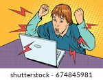 angry teenager sitting at... | Shutterstock . vector #674845981
