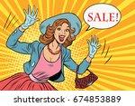 retro lady enjoys the sale. pop ... | Shutterstock . vector #674853889