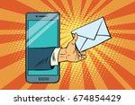you email or a message in... | Shutterstock . vector #674854429