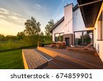 modern house with patio and... | Shutterstock . vector #674859901