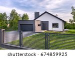 stylish villa with fence ... | Shutterstock . vector #674859925