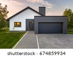 modern house with garage and... | Shutterstock . vector #674859934