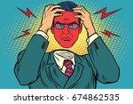 anger or headache in men.... | Shutterstock . vector #674862535