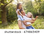 happy father with daughter on... | Shutterstock . vector #674865409