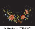 embroidery floral neck line... | Shutterstock .eps vector #674866051
