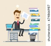 businessman sitting at office... | Shutterstock .eps vector #674866987