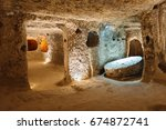 the derinkuyu underground city... | Shutterstock . vector #674872741