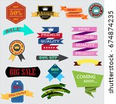 set of retro vintage badges and ... | Shutterstock .eps vector #674874235