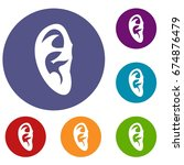 ear icons set in flat circle...