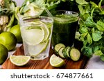 green smoothie and detox water... | Shutterstock . vector #674877661