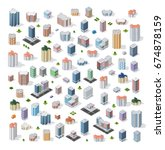 Set of modern isometric buildings and houses for sites and games. Dimensional views of skyscrapers  and urban areas with transport | Shutterstock vector #674878159