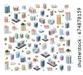set of modern isometric... | Shutterstock .eps vector #674878159