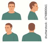 vector man hairstyle  front ... | Shutterstock .eps vector #674880061