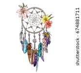 Native indian symbol dream catcher with lilies and color feather. Vector illustration