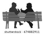 women gossip at the break.... | Shutterstock .eps vector #674882911