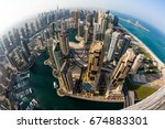 dubai marina skyline.... | Shutterstock . vector #674883301
