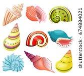 seashells set. | Shutterstock . vector #674884021