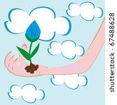 flower in a hand. illustration   Shutterstock .eps vector #67488628