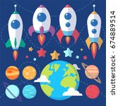 collection of spaceships ... | Shutterstock .eps vector #674889514