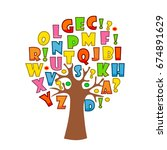 art tree with letters of... | Shutterstock .eps vector #674891629