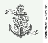 vintage anchor in retro style... | Shutterstock .eps vector #674891704