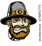 mascot pilgrim head  proud and... | Shutterstock .eps vector #674892775
