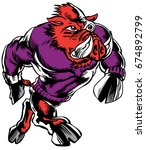 Mascot Razorback, strutting, proud and tough, which gives tribute to traditional school mascots but with a new look and attitude. Suitable for all sports. - stock vector