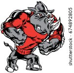 Mascot Rhino, strutting, proud and tough, which gives tribute to traditional school mascots but with a new look and attitude. Suitable for all sports. - stock vector