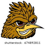 Mascot Roadrunner head, proud and tough, which gives tribute to traditional school mascots but with a new look and attitude. Suitable for all sports. - stock vector