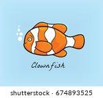 clownfish cartoon vector | Shutterstock .eps vector #674893525