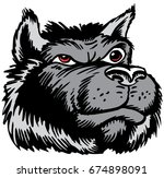 Mascot Wolf head, proud and tough, which gives tribute to traditional school mascots but with a new look and attitude. Suitable for all sports. - stock vector