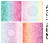 set of 4 cards with floral... | Shutterstock .eps vector #674901751