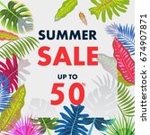 tropical summer pattern with... | Shutterstock .eps vector #674907871
