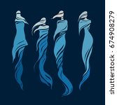 woman east type in veiled.... | Shutterstock .eps vector #674908279