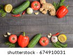 fresh vegetables on a dark... | Shutterstock . vector #674910031