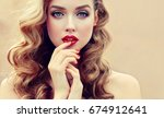 beautiful  blonde model  girl ... | Shutterstock . vector #674912641