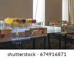 buffet breakfast in luxury hotel | Shutterstock . vector #674916871