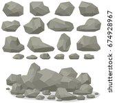 rock stone cartoon in isometric ... | Shutterstock .eps vector #674928967