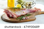 lamb leg raw with olive oil and ... | Shutterstock . vector #674930689
